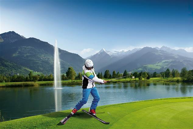 Skigolf player on a golf course